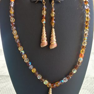 Amber Beaded Necklace with Drop Auger Shell and matching earrings