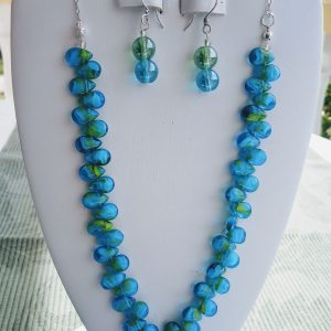 Aqua Teardrop Glass Bead Necklace with matching earrings