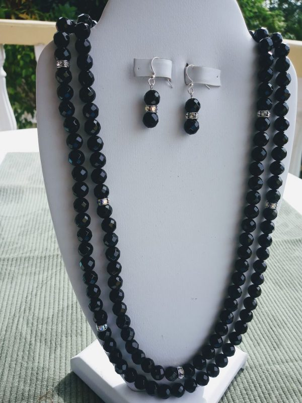 Black Facet Onyx Double-Strand Necklace with silver rhinetones and matching earrings