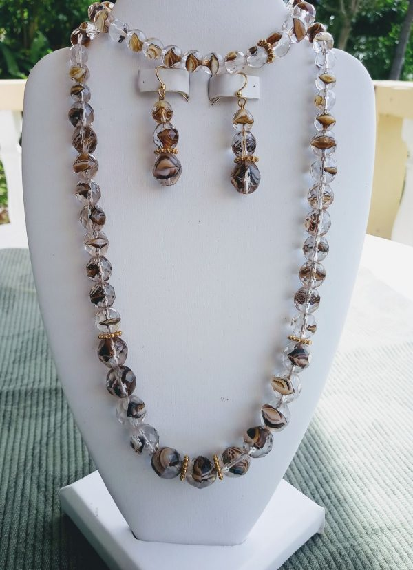 Clear Crystal Brown Preciosa Czech Beaded Necklace with matching earrings and bracelet