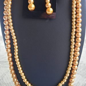 Gold Pearl Double-Strand Necklace with matching earrings and bracelet