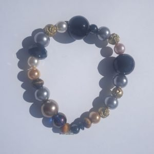 Gold Silver and Bronze beaded stretch Bracelet