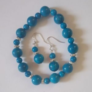 Howlite Turquoise Bracelet with matching earrings