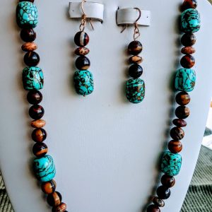 Jupiter Jasper and aqua square beaded necklace with matching earrings