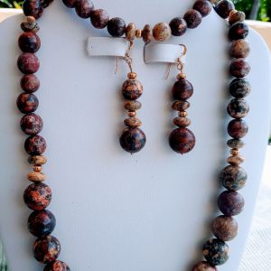 Leopard Brown Jasper Beaded Necklace with matching earrings and bracelet