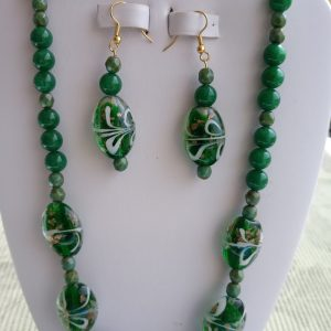 Malaysia Green Jade Beaded Necklace with matching earrings