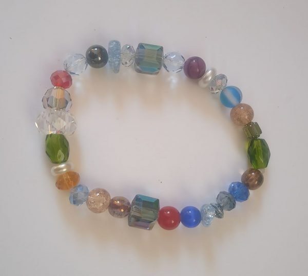 Mixture of size and style multicolor beaded stretch Bracelet