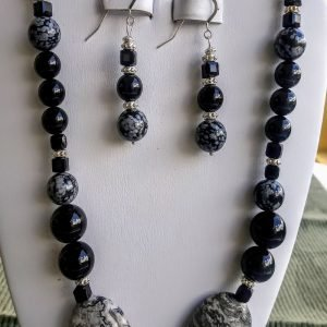 Onyx Black and Gray Beaded Necklace with matching earrings