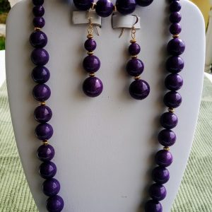 Purple Jade beaded necklace with matching earrings and bracelet