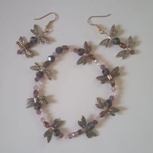 Purple dragonfly mix metal Bracelet with matching earrings