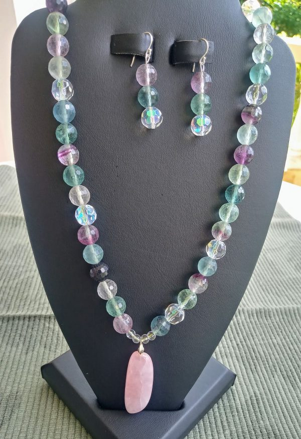 Rainbow Facet Beaded Necklace with oblong focal pendant and matching earrings