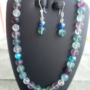 Rainbow colored Facet beaded Necklace with matching earrings