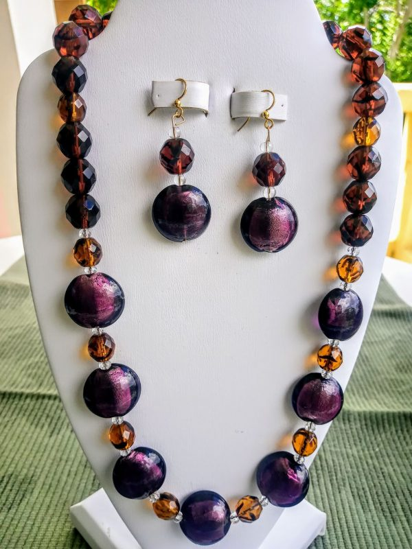 Tibetan Oval Beaded Necklace with Tortoise Round beads and matching earrings