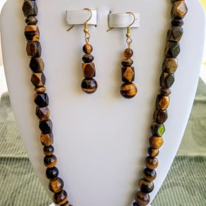 Tiger eye and facet medium beaded necklace with matching earrings