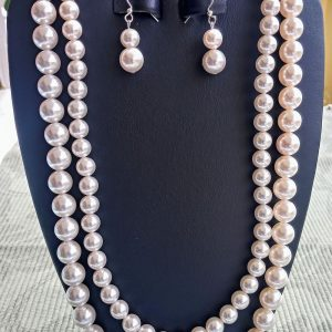 White Pearl Double-Strand Necklace with matching earrings