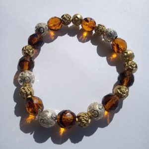 Amber Beaded Stretch Bracelet with Gold and Silver Nuggets