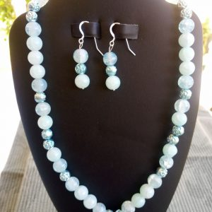 Aqua blue glass beaded Necklace with matching earrings