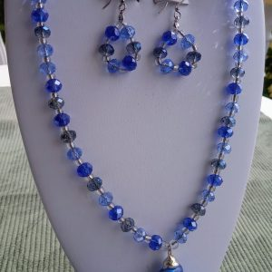 Blue Glass Beaded Necklace with Aqua Blue Seashell Pendant and matching earrings