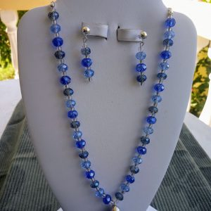 Blue glass rondelle beaded Necklace with blue turban shell pendant and matching earrings