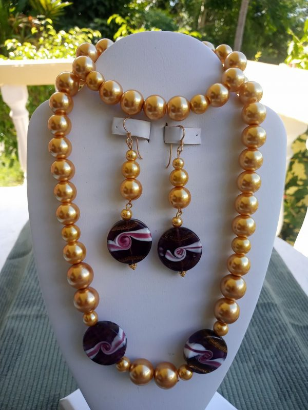 Gold pearl Necklace with lampwork topaz coins and matching earrings and bracelet