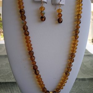 Honey Bicone rondelles and Howlite Turquoise beaded Necklace with matching earrings