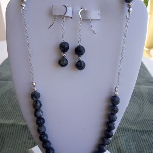 Labradorite Blue Beaded Necklace with matching earrings