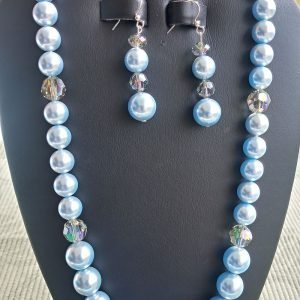 Light Blue Pearl and Swarovsky Crystal Necklace with matching earrings