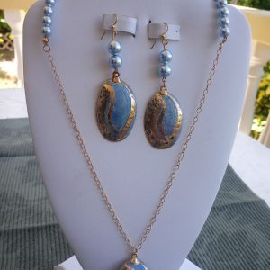 Light Blue Pearl and gold-filled cabin chain Necklace with Abalone Shell Pendant and matching earrings