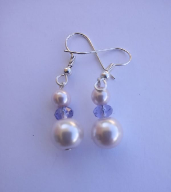 Light Lavender Pearl Earrings with Glass Rondelles