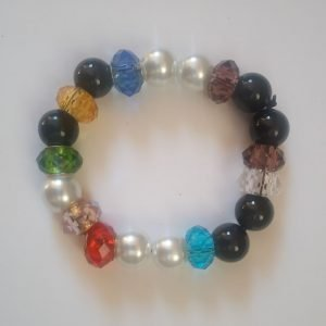 Multi-colored crystal beaded stretch Bracelet with black onyx and white pearls