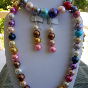 Multi-colored glass pearl Necklace with matching earrings and bracelet