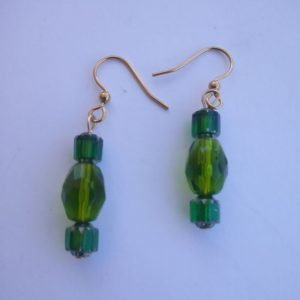 Oval Emerald and cathedral green beaded Earrings