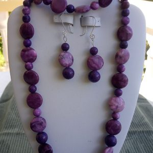 Purple Jade Beaded Necklace with Flat Purple Beads and matching earrings and bracelet