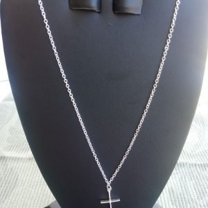 Silver-plated steel cable chain Necklace with sterling silver cross