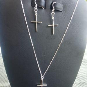 Sterling Silver Cable Chain Necklace with Sterling Silver Cross and matching earrings