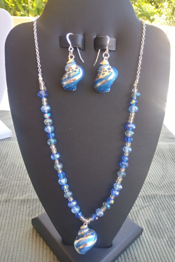 Sterling Silver Chain Necklace with mix blue glass rondelles and silver and blue tapestry turban seashell with matching earrings