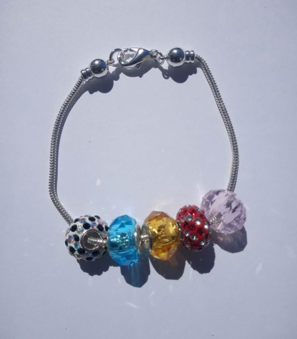 Sterling Silver Snake Bracelet with multi-colored rhinestones and crystal beads