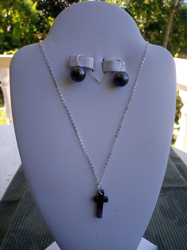Sterling silver cable chain Necklace with black Hemalyke cross pendant and matching earrings