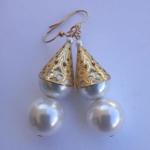 White pearl earrings with fluted gold-filled brass filigree