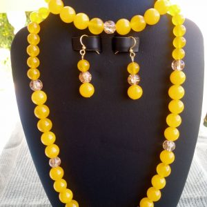 Yellow Jade Beaded Necklace with matching earrings and bracelet