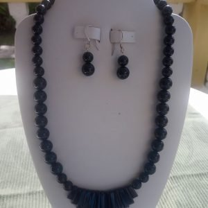 Black Onyx beaded necklace with fan-shaped design and matching earrings