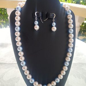 Blue and white pearl necklace with matching earrings