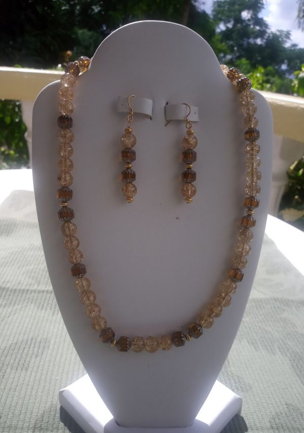 Bronze and Beige Beaded Necklace with Matching Earrings