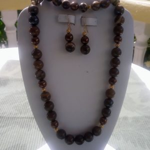 Bronze and brown jupiter jasper beaded necklace with matching earrings and bracelet