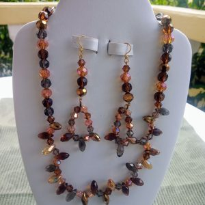 Brown Amber and Topaz Beaded Necklace with Matching Earrings