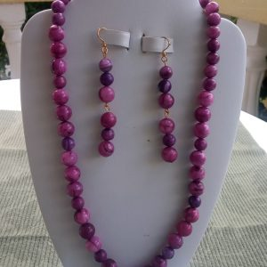 Crazy Lace Purple beaded necklace with matching earrings