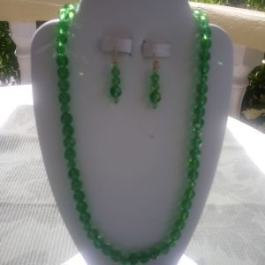 Green Peridot Beaded Necklace and matching earrings