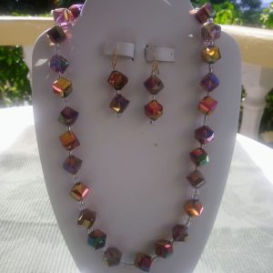 Multi-colored Iris glass clube necklace and matching earrings