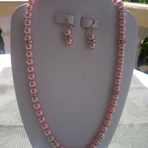 Pink Beaded Necklace with crystal rhinestones and matching earrings