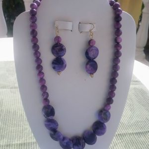 Purple Crazy Lace beaded necklace with flat purple crazy lace focal beads and matching earrings